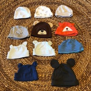 Lot of 11 infant/baby hats/caps